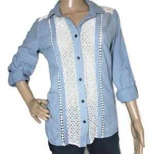 Xhilaration lace and denim colored button down